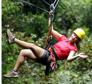 You should wear comfortable sports clothing for the zipline canopy tour