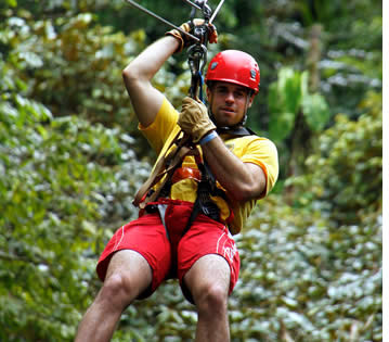 The zipline canopy tour in Bastimentos takes place everyday